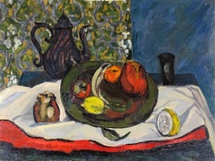20th Century Fauves Style French School Still Life Oil on Canvas Red Yellow Blue