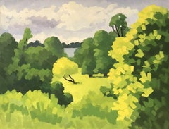 20th CENTURY FRENCH CUBIST LANDSCAPE OIL PAINTING - BRIGHT GREEN TREES & FIELDS
