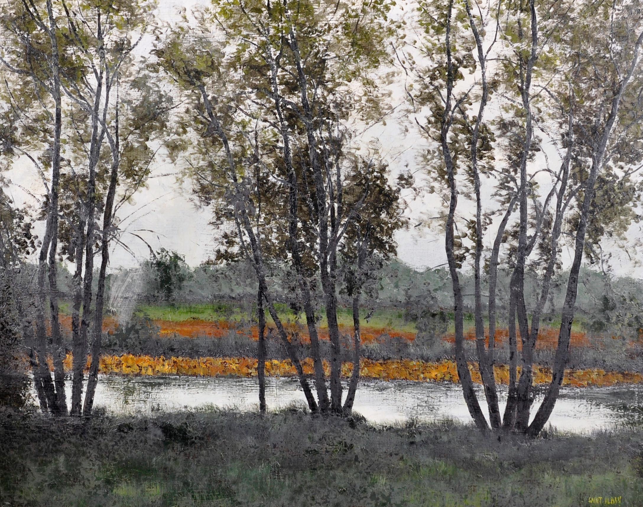 20th CENTURY FRENCH MODERNIST OIL - RIVER LANDSCAPE - VERY FINE GILT FRAME