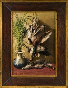 20th century Italian Still Life painting -  Hunt interior - Oil on canvas Italy