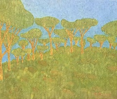 20th Century Nabis/ Pont-Aven School Signed Oil Painting - Trees in Green Land