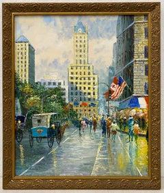 20th Century New York Cityscape W/ Figures & Flags by Sebastian