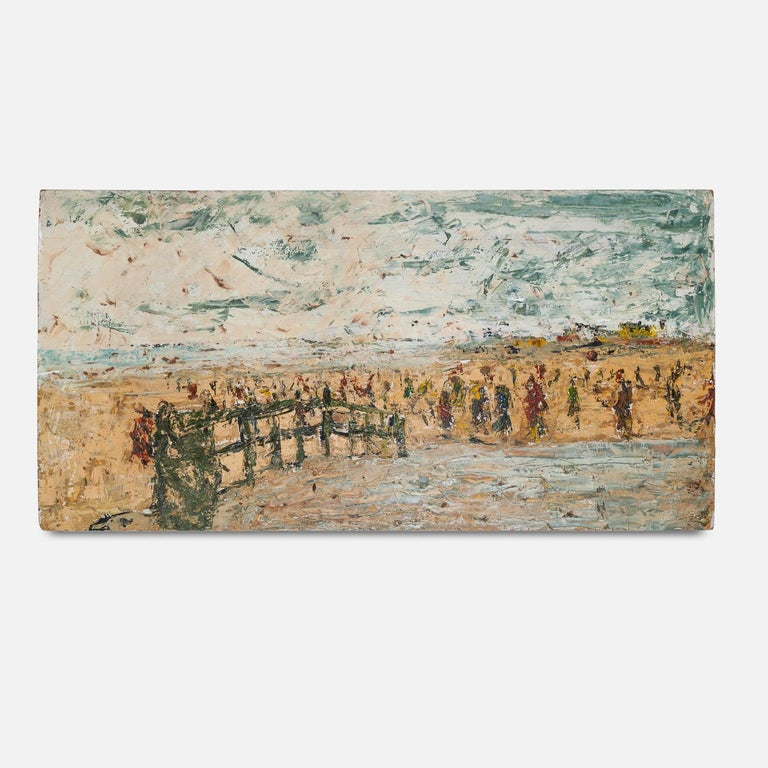 Unknown Landscape Painting - 20th Century Oil on Board Painting of a Beach