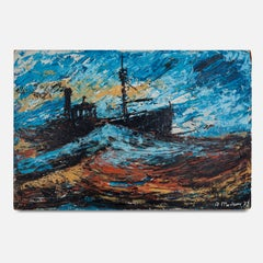 20th Century Oil on Board Painting of a Fishing Trawler by A. Mackay