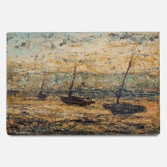 20th Century Oil on Board Painting of Moored Sailing Boats by A. Mackay