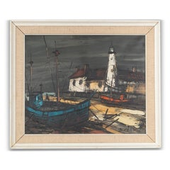 20th Century Oil on Canvas of Harbour Scene by Boris Cenic