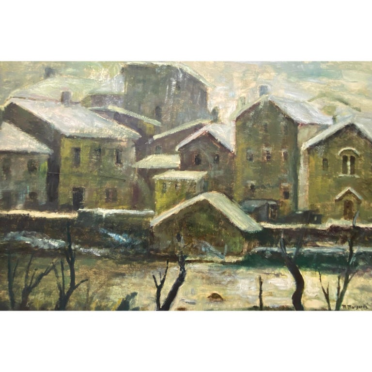 20th Century Oil WPA Style Oil Painting Urban Landscape c.1950 - Brown Landscape Painting by Unknown