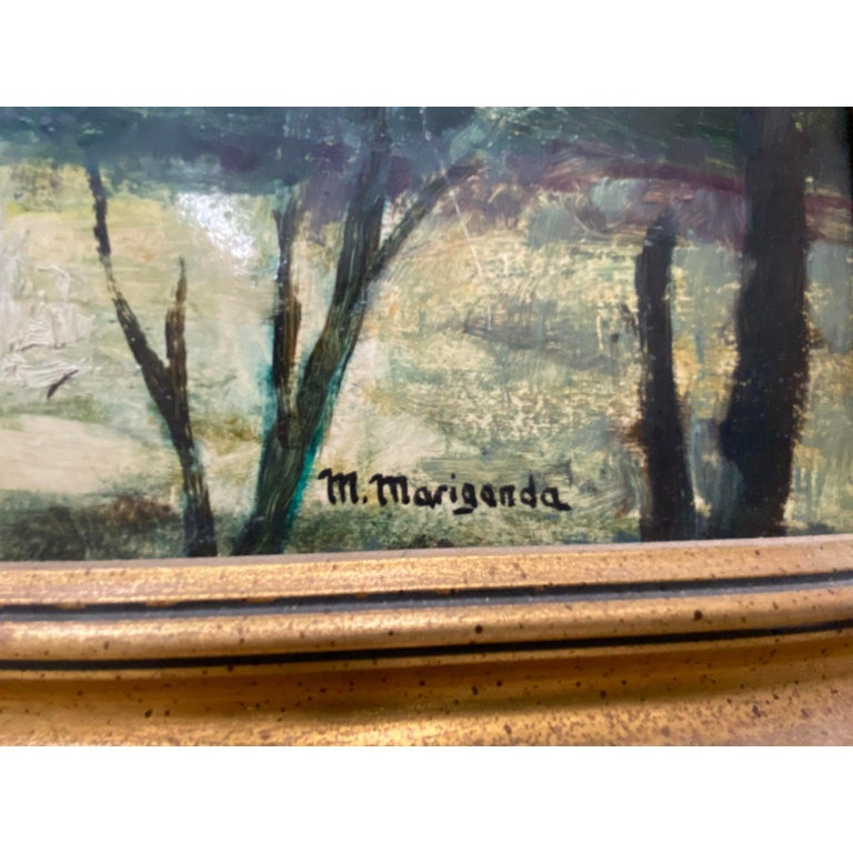 20th Century Oil WPA Style Oil Painting   Oil on board. Approximately 20