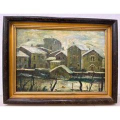 20th Century Oil WPA Style Oil Painting Urban Landscape c.1950