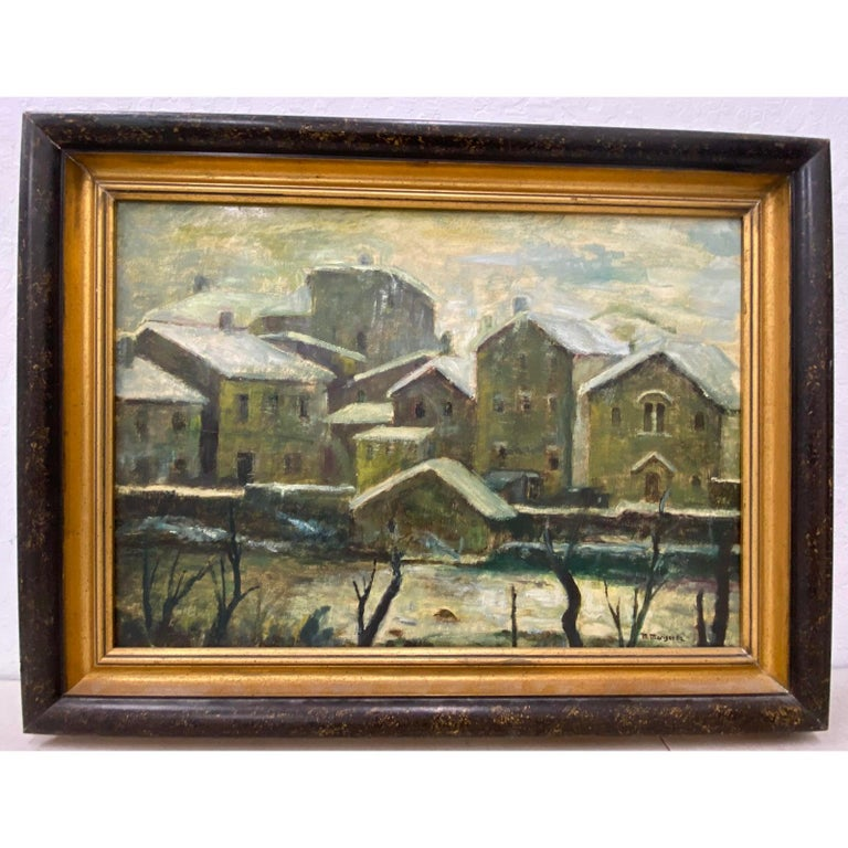 Unknown Landscape Painting - 20th Century Oil WPA Style Oil Painting Urban Landscape c.1950
