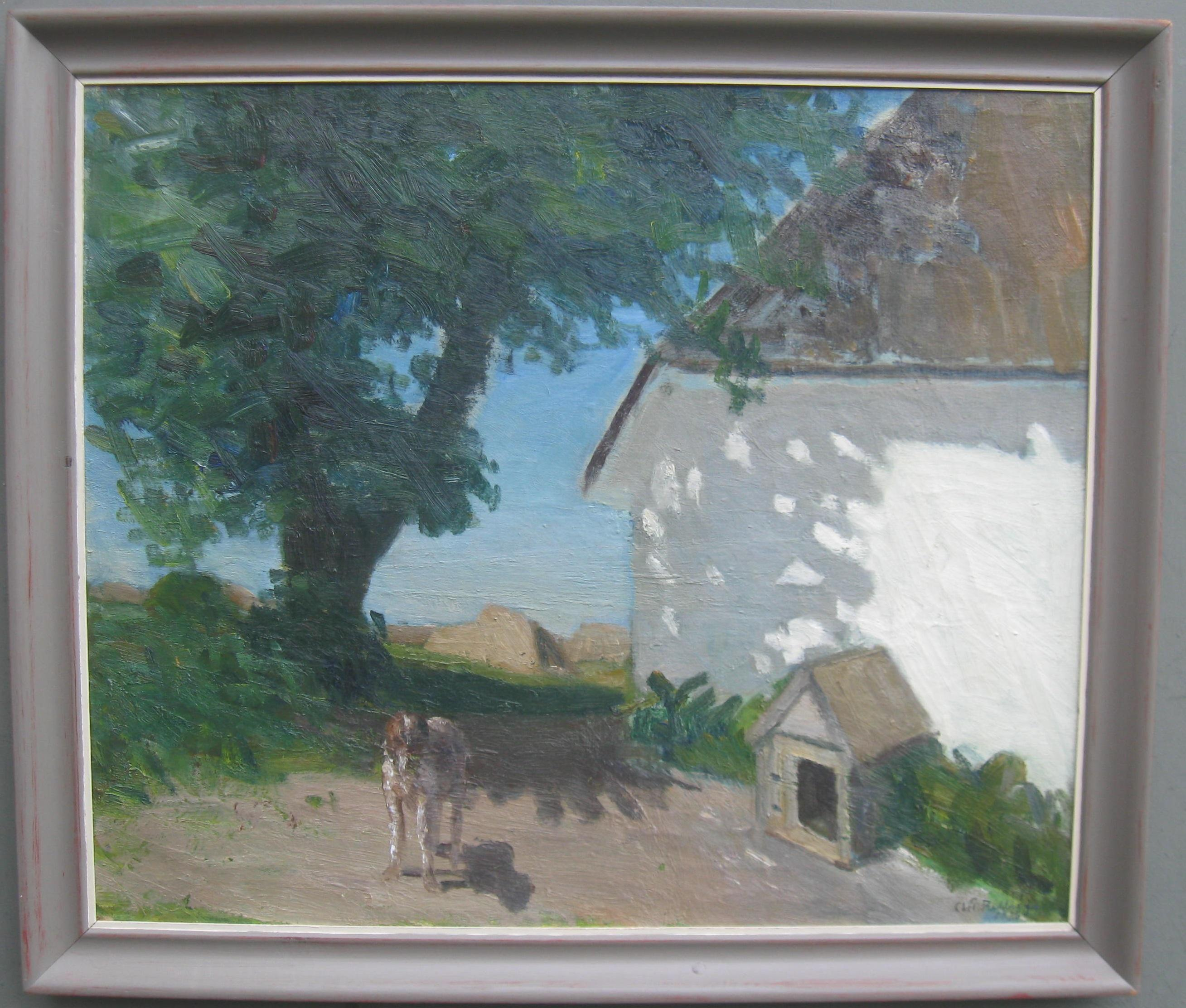 20thC Modernist oil ' Dog in the Midday Sun' circa 1980