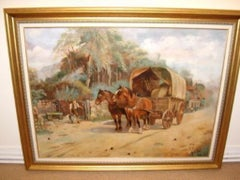 20thc Oil Painting of Horses & Stage Coach Stopping To Water Horses