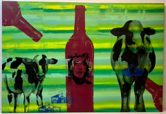 21st Century Large Scale Pop Art Painting on Canvas With Cows