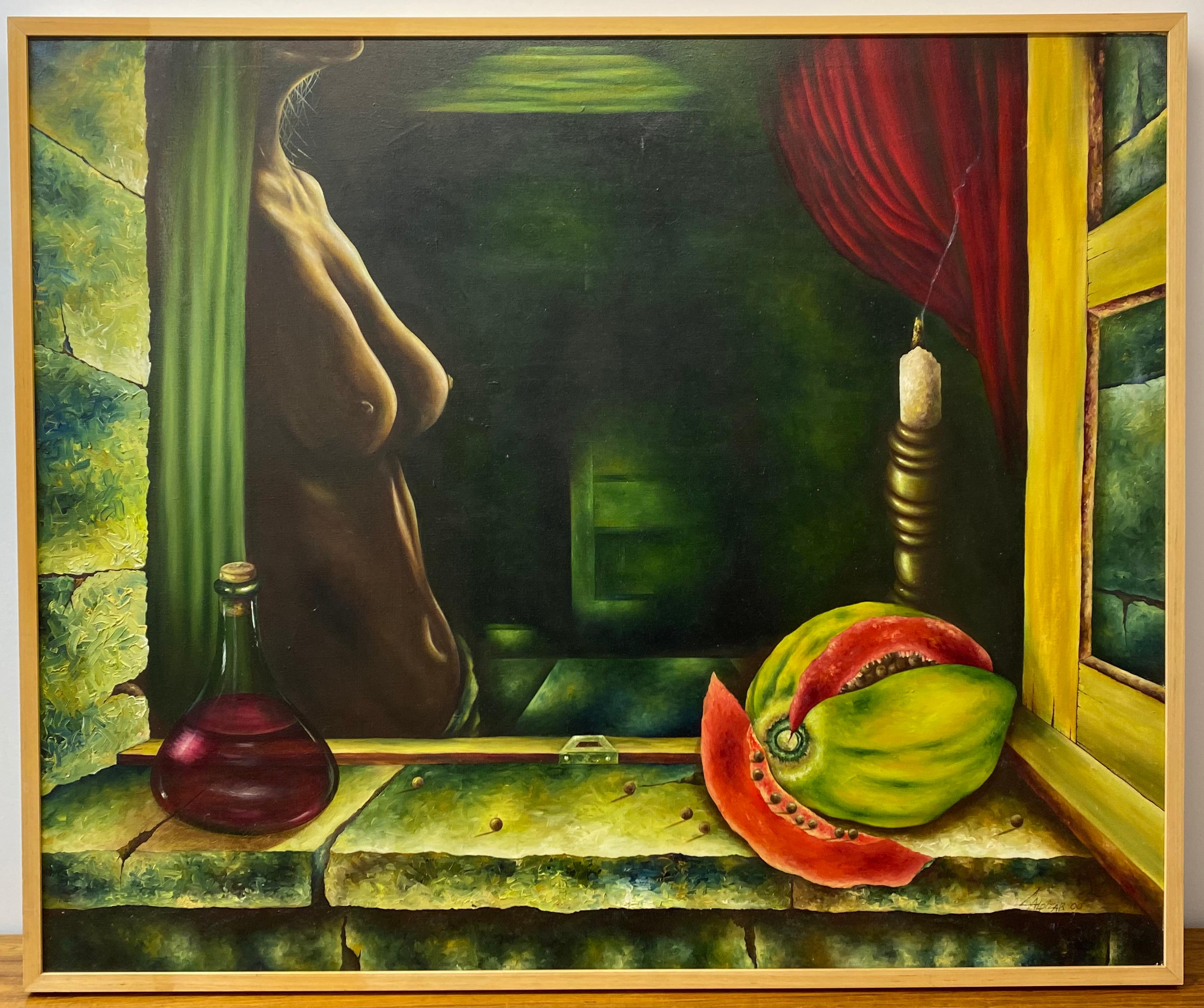 "21st Century Surreal ""Mujer Enamor"" Original Oil Painting C.2000"
