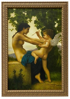 "21st Century ""Young Girl Defending Herself Against Eros"" Original Oil Painting"