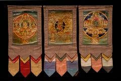 3 19th Century Small Tibetan Thangka with Original Brocades from a Set of 3