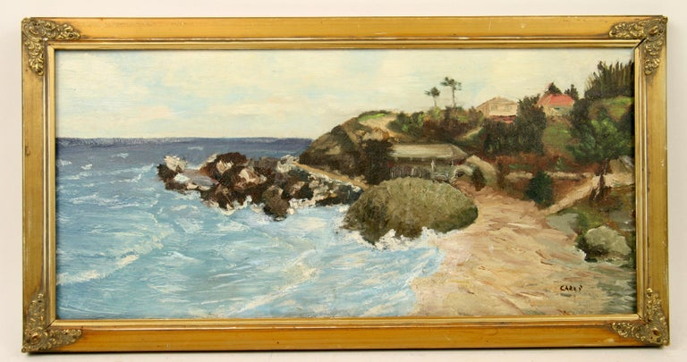 #5-101 Impressionistic style painting of the California coastline ,acrylic on artist board,set in a custom gilt wood frame,Signed lower right by Carli Age wear on the frame