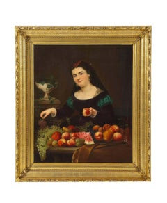 A Beautiful Oil on Canvas Portrait Painting of a Fruit Seller, 19th Century