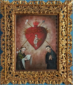 A colonial XVIII century Sacred Heart peruvian oil on canvas