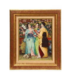 "A Fine French Japonisme Oil on Canvas Painting of ""Three Geishas"""