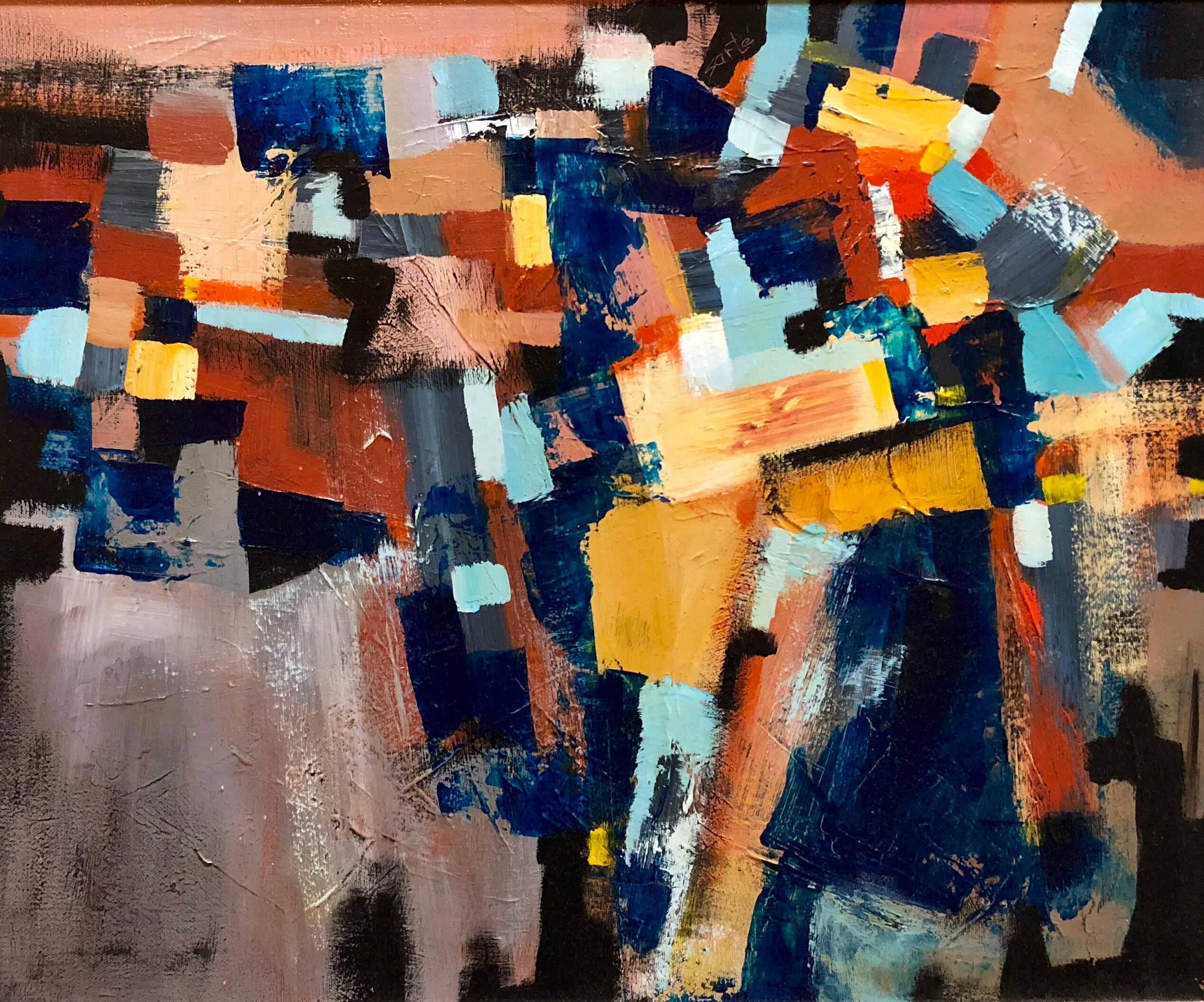 A Glazing Medley, Abstract Expressionist Oil on Canvas Painting