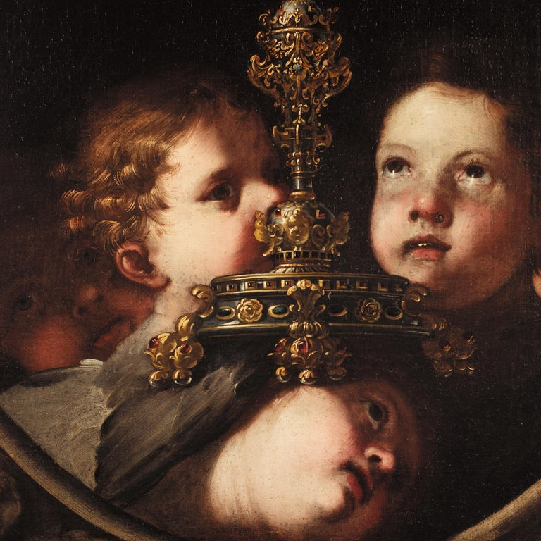 A Holy Monstrance Surrounded by Putti, Genoese School, c.1620-30, Oil on Canvas - Painting by Unknown