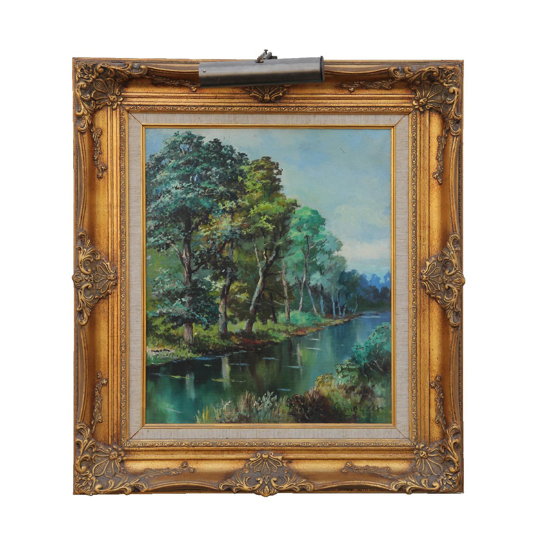 """""""A Joyce, Hommage de l'Artiste"""" Barbizon School Landscape Painting"""