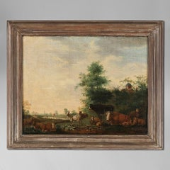 A Late 17th Century Flemish Pastoral Landscape Oil on Canvas