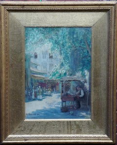 A Market Scene - French Impressionist art 1914 watercolour painting indis signed