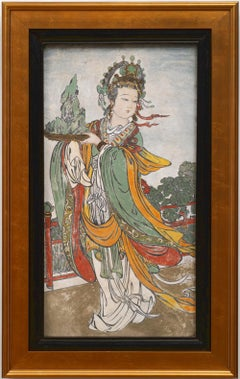 An Early Ming Dynasty Fresco Painting of a Female Attendant (15th century)