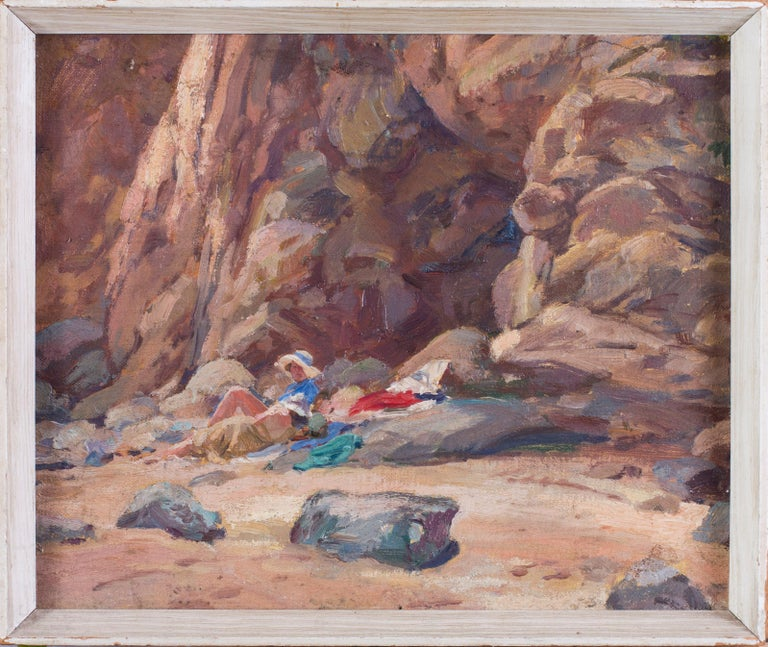 A pair of early 20th Century British Impressionist paintings of the beach  - Painting by Unknown