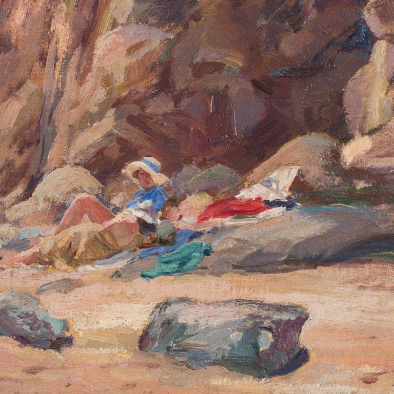 Attributed to Rowland Wheelwright, 20th Century 'Bather's on the shore' and 'Sunbathing by the Cliffs' Oil on canvas board 9 X 10. 1/4in. (22.8 X 26cm.) (each) A Pair  A pair of delightful oil on canvas coastal scenes showing bathers taking in the