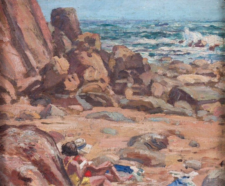 A pair of early 20th Century British Impressionist paintings of the beach  For Sale 5
