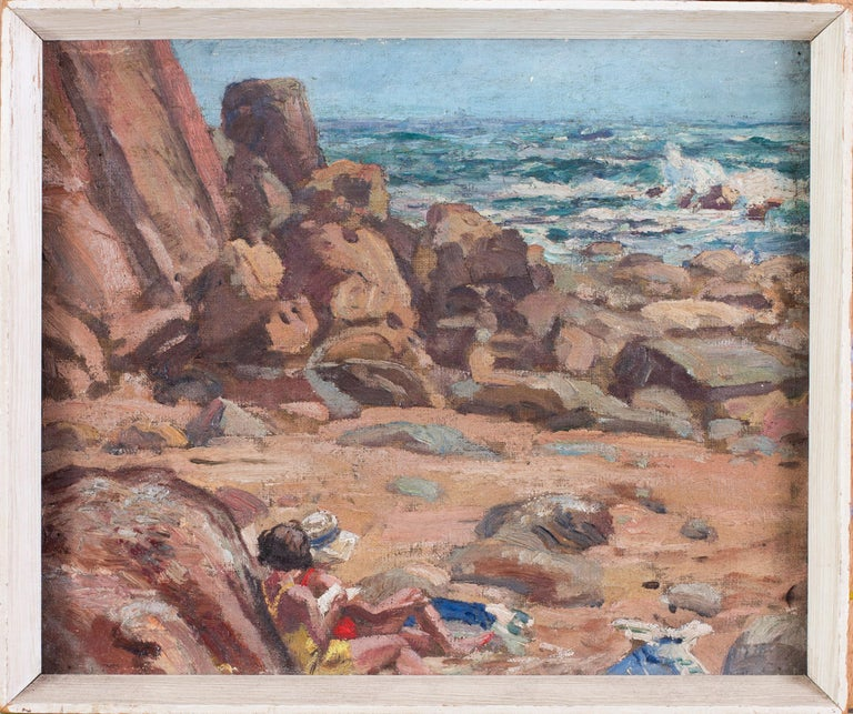 Unknown Landscape Painting - A pair of early 20th Century British Impressionist paintings of the beach