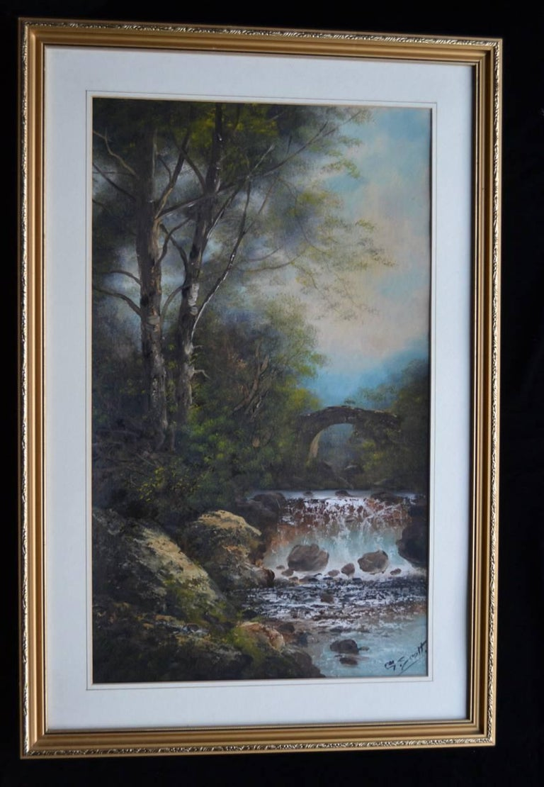A Pair Of English Landscapes. Oil on paper - Gray Landscape Art by Unknown