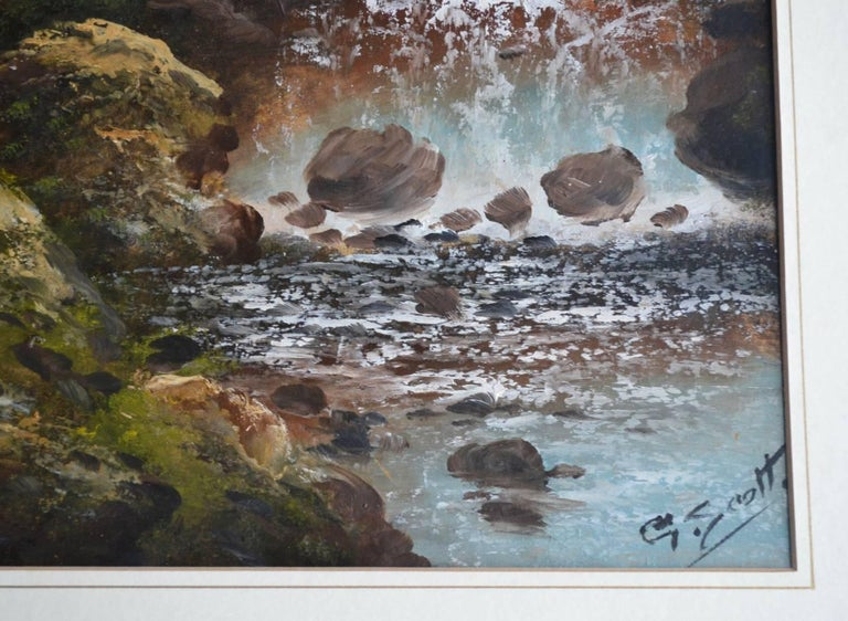 A pair of early 20th Century English Landscapes. Oil on paper, fair condition behind glass. Signed G Scott  Images 24