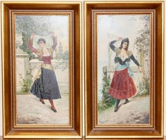 A pair of paintings, dancing ladies. Around 1900. Oil on wood. Signed.