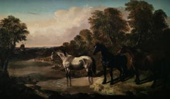 """""""A River Landscape with Wild Horses"""", Victorian original, oil on canvas"""