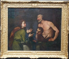 Abraham and Issac - Italian Old Master 17th century religious art oil painting
