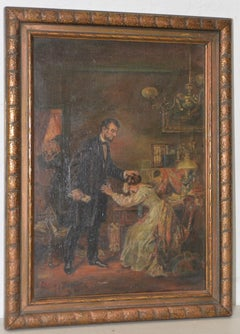 Abraham Lincoln Consoles Mary Todd Lincoln Original Oil Painting c.1924