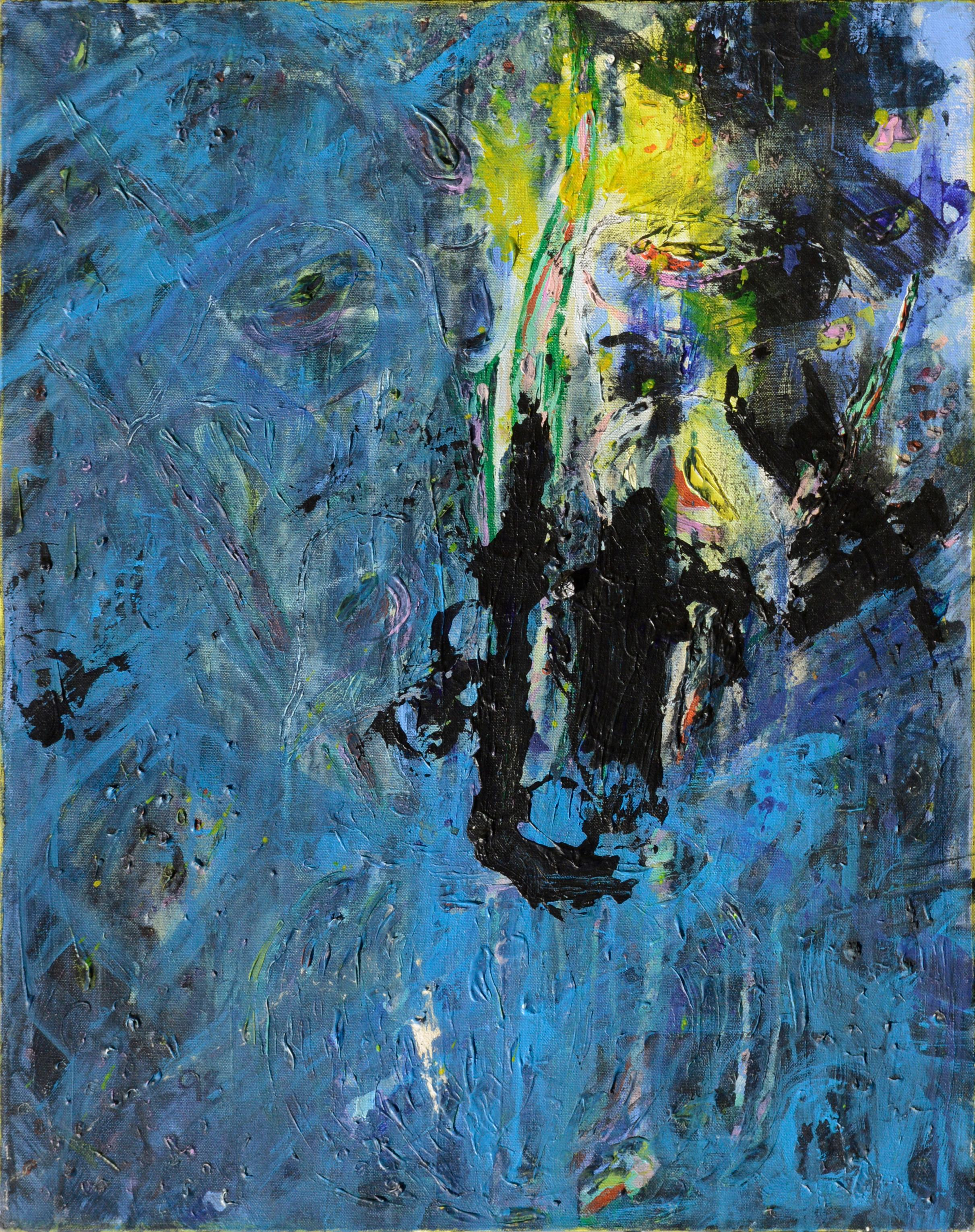 Abstract Blue, Yellow, and Black Composition