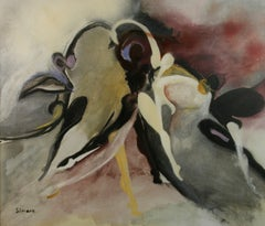 Abstract Dancer Framed Oil Painting  by Simone 1960