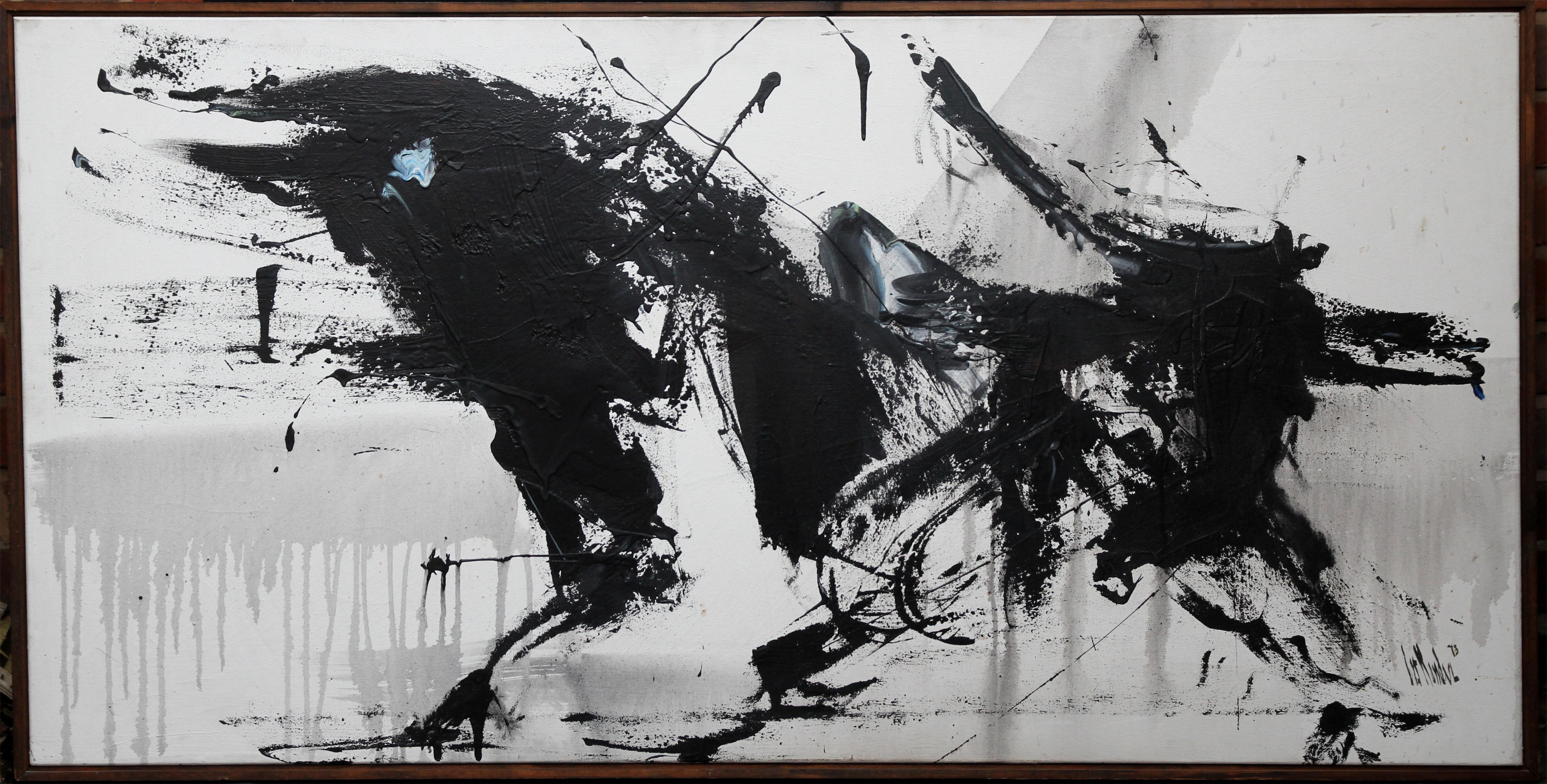 Unknown abstract expressionist black white late 20th century large oil painting signed painting for sale at 1stdibs