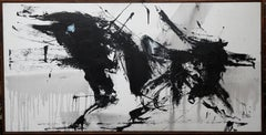 Abstract - Expressionist black white late 20th Century large oil painting signed