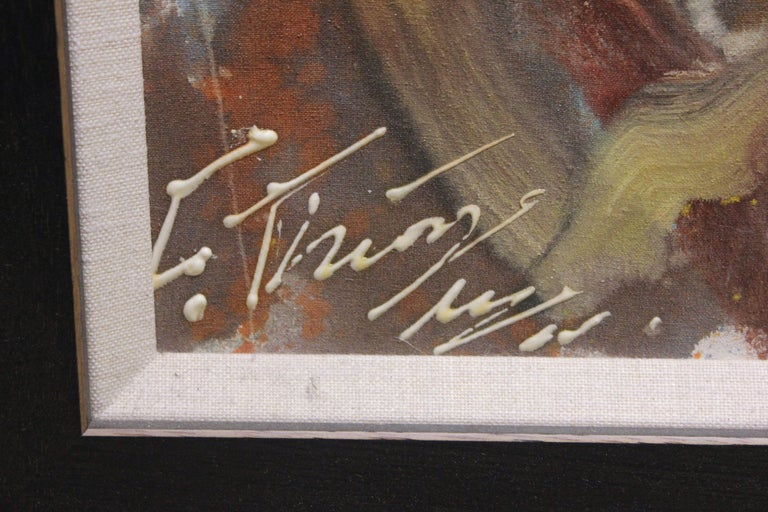 Abstract expressionist painting signed in the bottom corner by the artist. The canvas is framed in a black frame with a white trim.  Dimensions Without Frame: H 35.5 in. x W 24 in. x D .75 in.