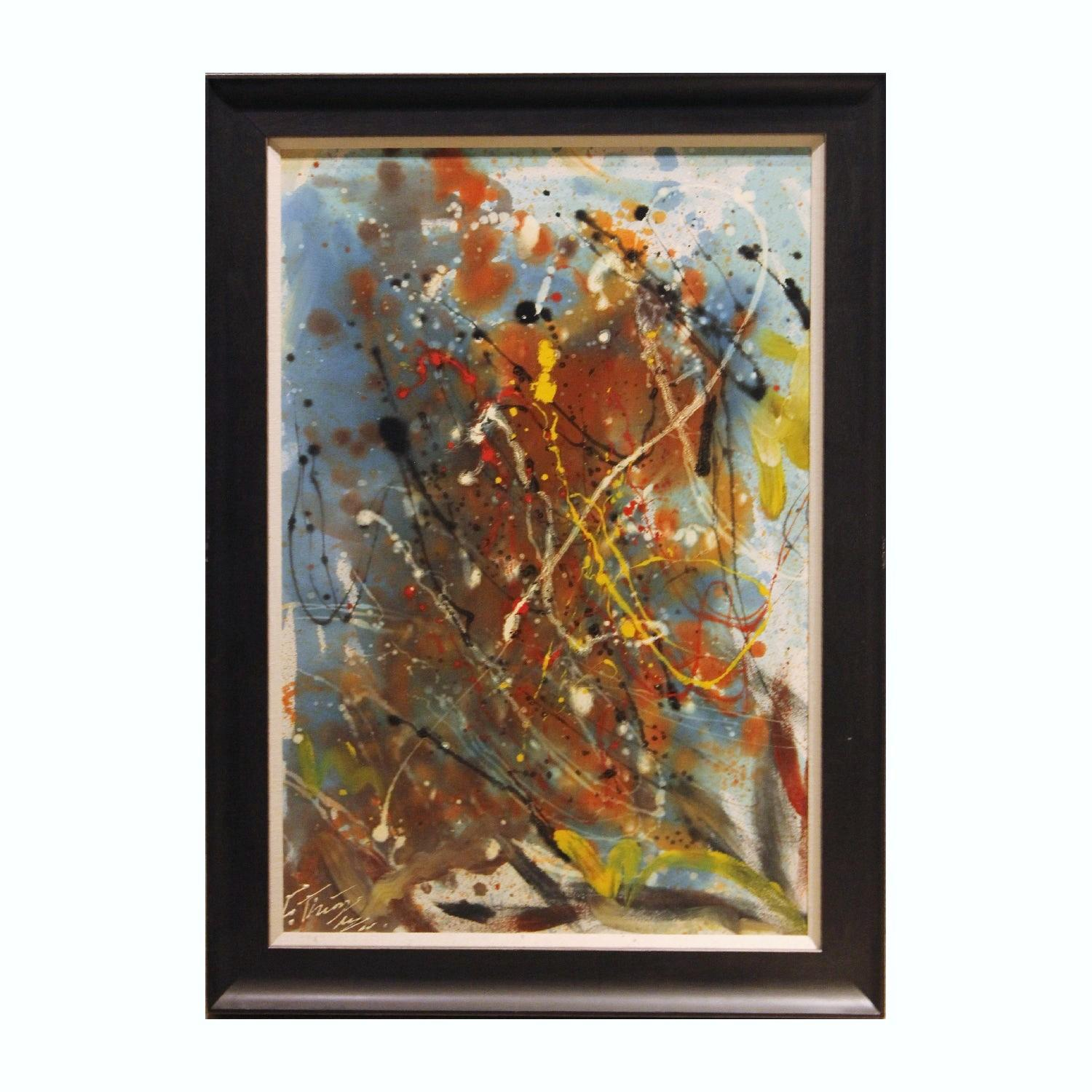 Abstract Expressionist Blue and Yellow Toned Painting Signed