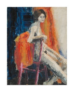 Abstract Expressionist FIgurative -- Seated Nude Woman