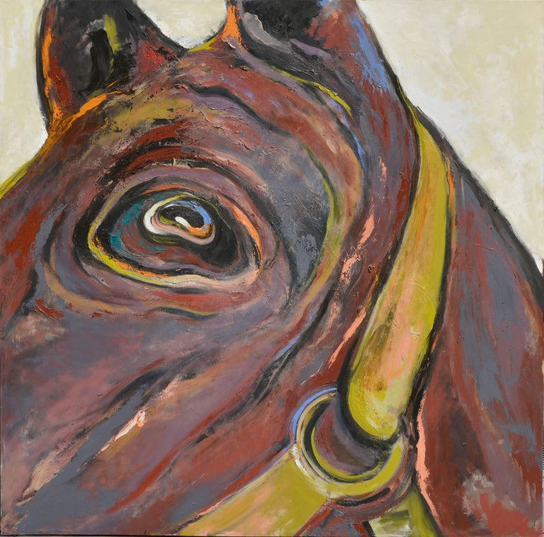Unknown Figurative Painting - Large Scale Abstract Expressionist Horse