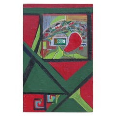 Abstract Geometric Red and Green Painted Wood Block