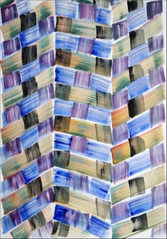 Abstract Grid Painting of Cool Brushstroke Patchwork, Dark Warm Tones Pattern